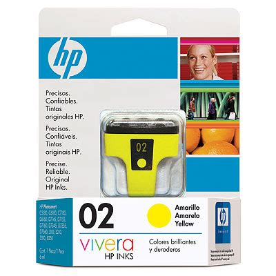 Tinta Hp 02 Yellow Cartucho De Tinta Hp 02 Yellow Ink Cartridge Amarillo