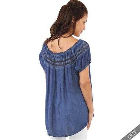 Bt5333 White Tunik womens boho lightweight shoulder top blouse summer tunic shirt ebay