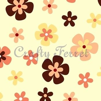 yellow patterned craft paper free to download and print retro flowers cream brown