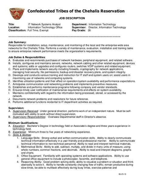 system analyst description it network systems analyst description