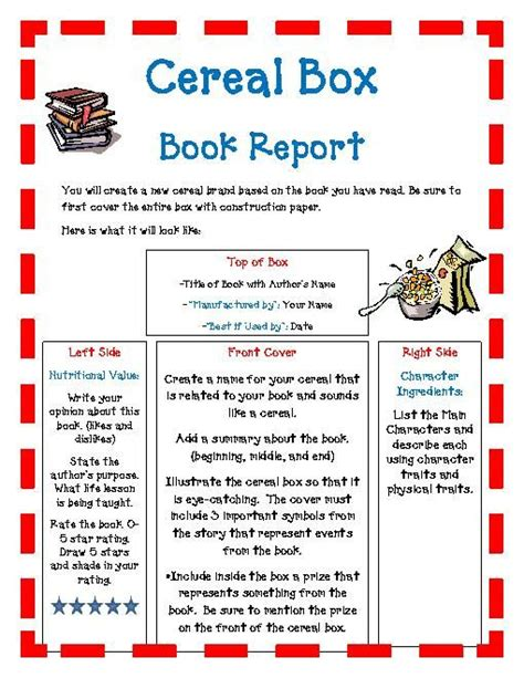 book report commercial 24 best cereal box book report images on