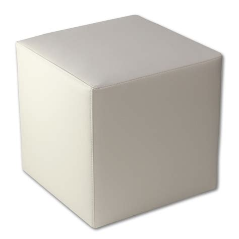 Beige Faux Leather Cube Ottoman Molded Foam Core Complete