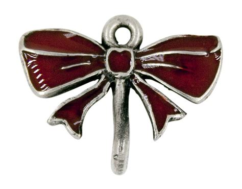 red bow ornament hanger shiny pewter usa