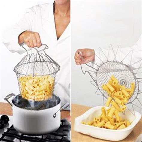 Chef Basket Kitchen Tools foldable steam rinse strain fry chef basket strainer net kitchen cooking tool 52053 in