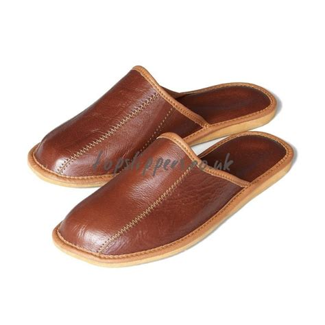 mens leather house slippers buy brown leather house slippers mules for men model no 332j