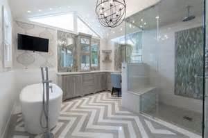 Bathroom transitional with chevron rug tile floor beautiful bathroom