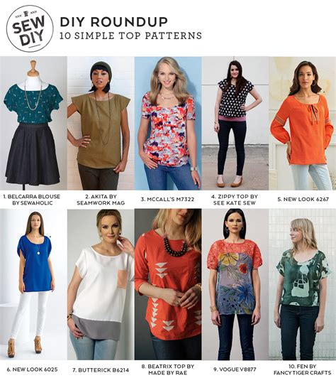 best sewing patterns 10 simple top sewing patterns sew diy