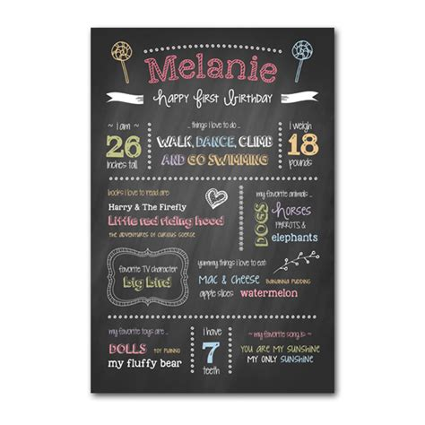 first birthday chalkboard template my product catalog