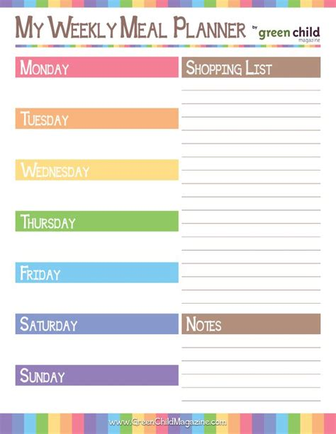 printable monthly meal planner free weekly meal planner free printable free printable meal