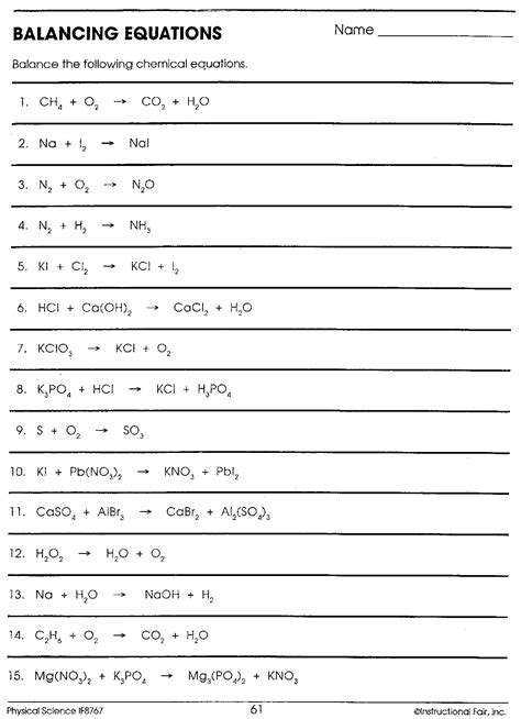 Balancing Equations Worksheet Answers by Balancing Equations Answers Lesupercoin Printables Worksheets
