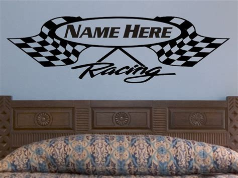 Race Track Wall Mural crossed checkered flag wall decal personalized racing flags