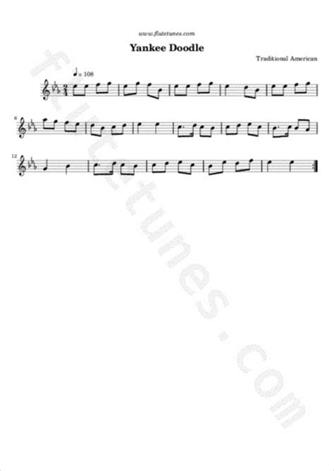 free yankee doodle sheet for flute yankee doodle trad american free flute sheet