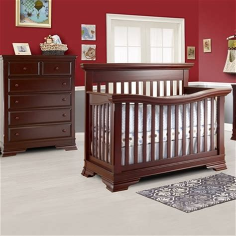 Mini Crib With Drawers Lusso Manchester 2 Nursery Set Crib With Mini Rail And 5 Drawer Dresser In Merlot Free