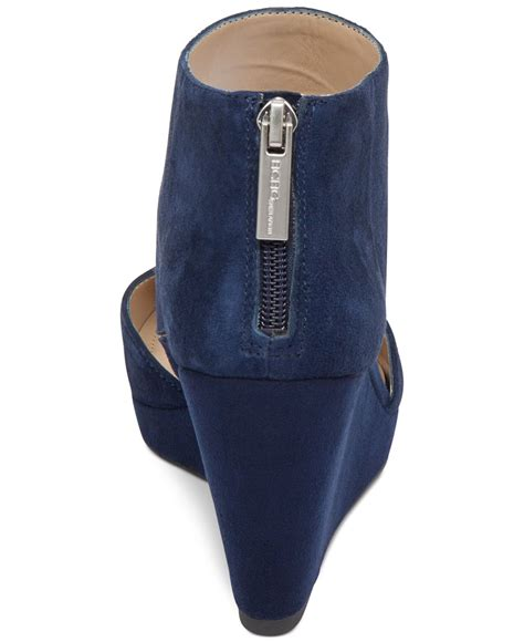 Wedges Boots Zliper Blue Grey bcbgeneration millbook suede wedge booties in blue lyst