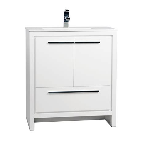 30 Inch White Bathroom Vanity Buy Cbi Enna 30 Inch Glossy White Modern Bathroom Vanity Tn La750 Hgw On Concepbaths
