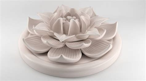lotus flower figurine  print model cgtrader