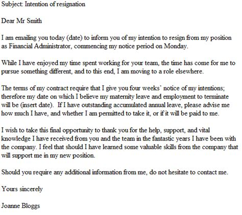 Resignation Letter Subject Line Exles Resignation Letter Format 10 Exle Letter Of Resignation Email Notice Subject
