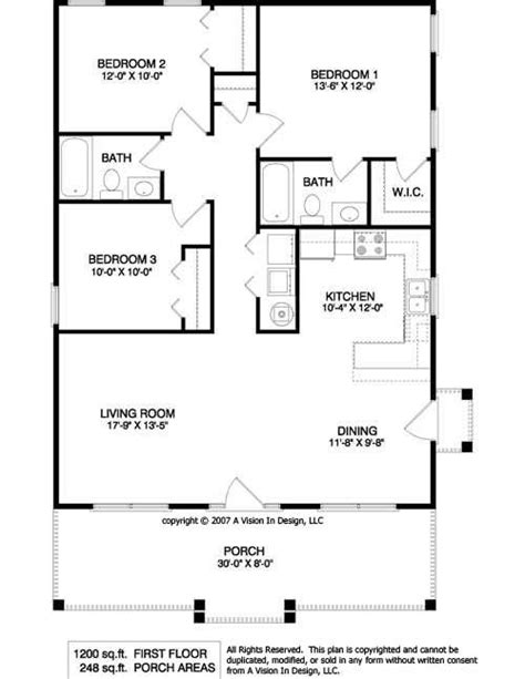 1200 sq ft bungalow floor plans for the home