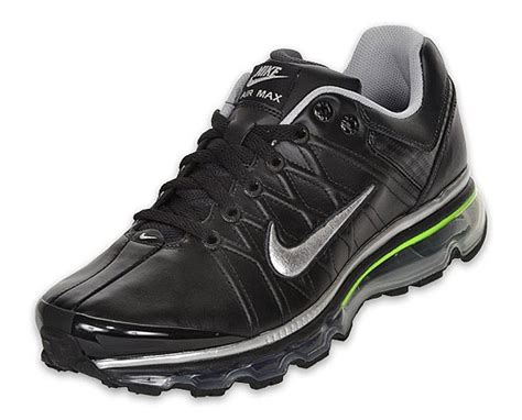 Nike Air Max 2009 Mens by Nike Air Max 2009 Leather 366718 003 Black Metallic Silver Electric Green Ebay