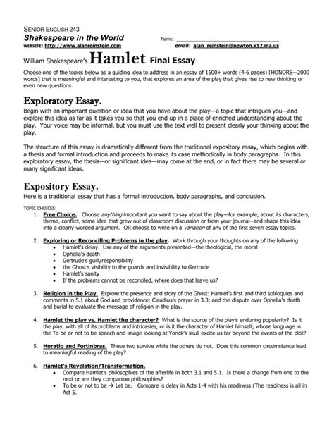 Outline The Major Themes In Hamlets Soliloquies by Hamlet Soliloquy Essay Introduction Docoments Ojazlink
