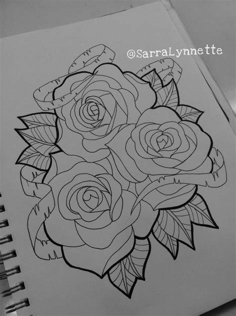 scroll with roses tattoo and scroll design by sarra lynnette artwork