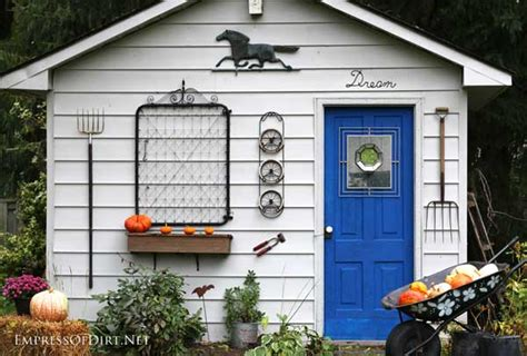 shed decor rustic fall shed makeover empress of dirt