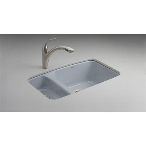 Shop Kohler Lakefield Double Basin Undermount Enameled Cast Iron Kitchen Sinks