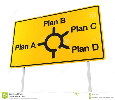different plans road sign with options for different plans stock