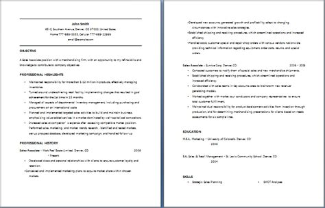 resume sles for sales associate retail sales associate resume writing resume sle