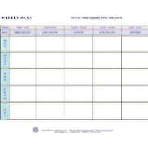 child care menu templates free free printable weekly menu planner template