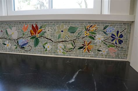 floral mosaic border kitchen designer glass mosaics