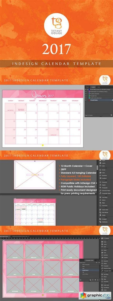 calendar template 2017 indesign 187 free download vector