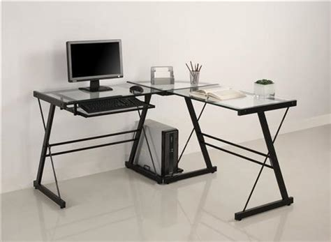 L Shaped Desk With Keyboard Tray Modern Black Clear Glass L Shaped Desk With Keyboard Tray Computerdesk