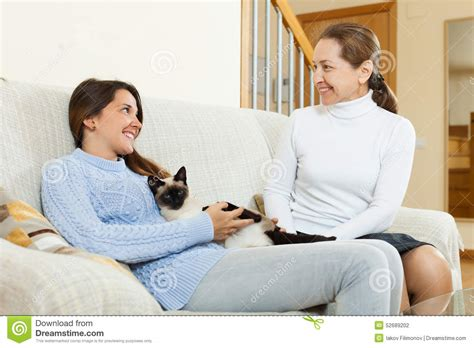 mom on sofa mother and daughter on sofa stock photo image 52689202