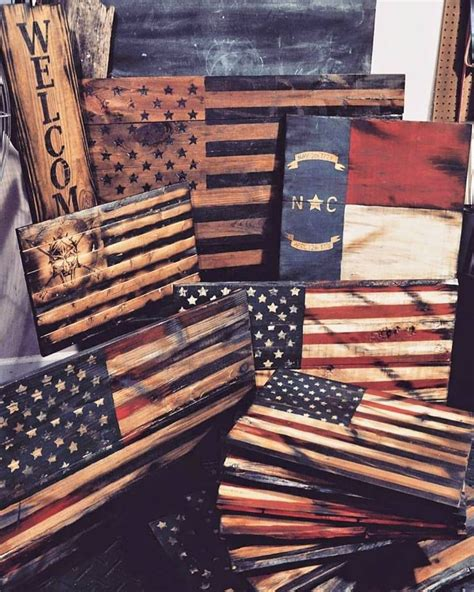wood signs flags american flag north carolina spartan