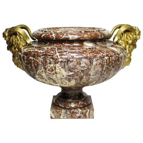 Urn Style Planter by 19th Century Louis Xv Style Marble And Gilt Bronze