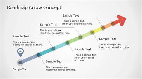 Colorful Roadmap Arrow Concept For Powerpoint Slidemodel Milestone Roadmap Template
