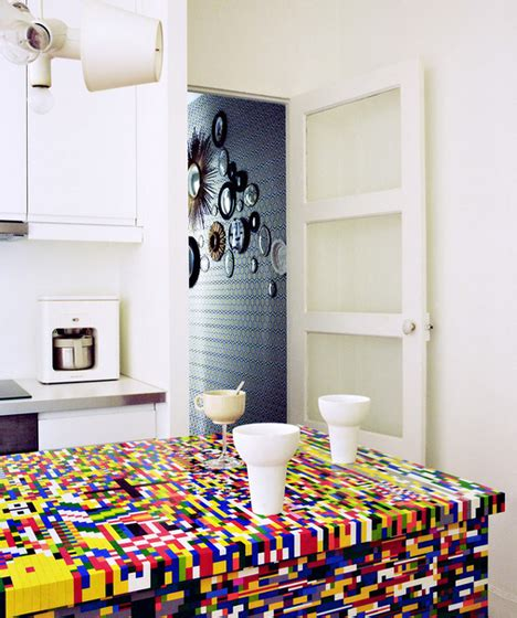 lego kitchen island and colorful lego wrapped ikea kitchen table