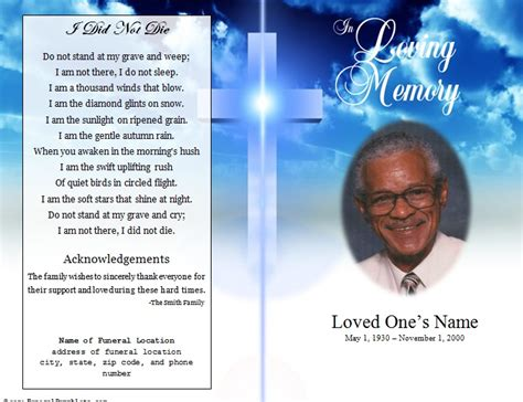 cross single fold funeral program funeral phlets