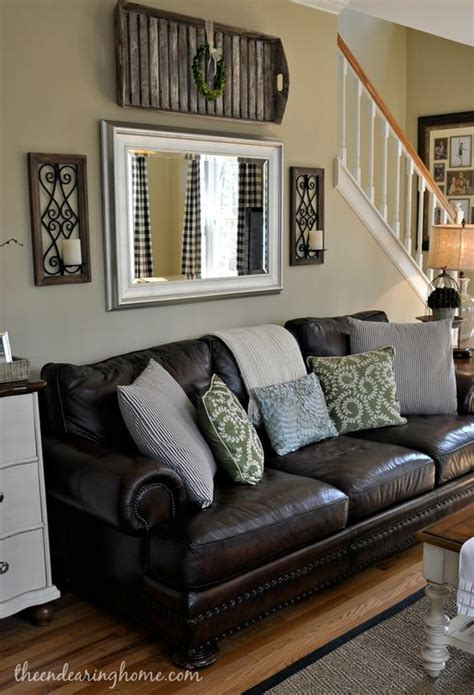 Decor Ideas For Living Room With Brown Leather Furniture - brown leather living room decoration adding a