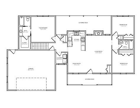 Foot house floor plans on open floor plans one level house with slab