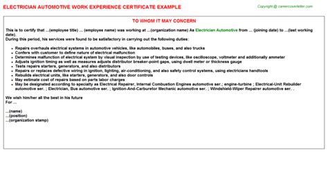 Experience Letter Electrician Expedition Work Experience Certificates
