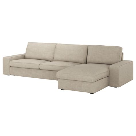 chaise seat kivik three seat sofa and chaise longue hillared beige ikea