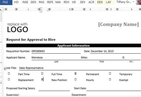 Sle Request Form For Approval To Hire For Word New Hire Request Form Template