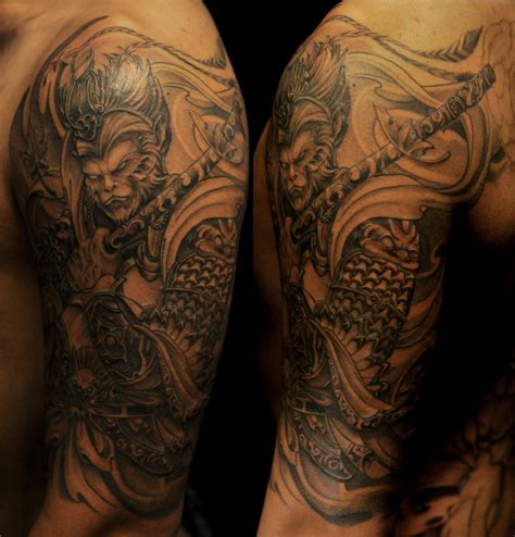 half sleeve monkey king tattoo chronic ink