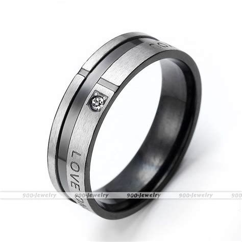 black golden cz gem steel lover wedding bands