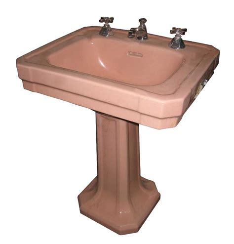 Via bklyn contessa 1940s pink deco pedestal sink i love old things pinterest