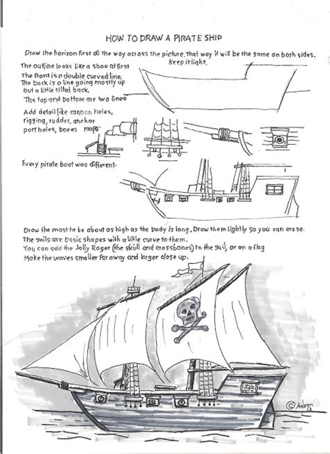 pirate ship a sketch for a how to how to draw worksheets for the young artist how to draw a pirate ship easy worksheet