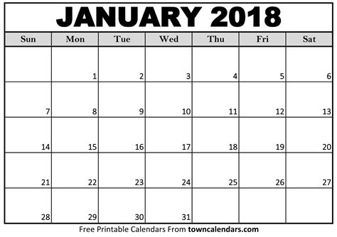 printable calendar jan 18 printable january 2018 calendar towncalendars com