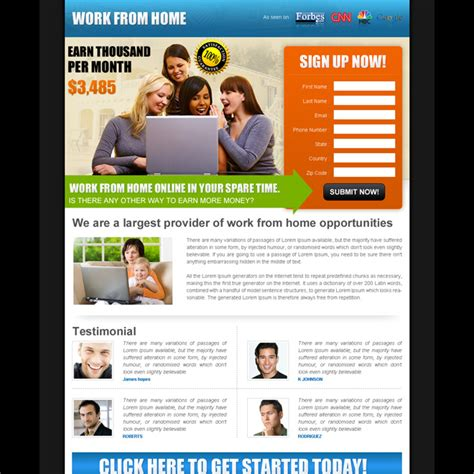 online design work from home work from home landing page design template exle to